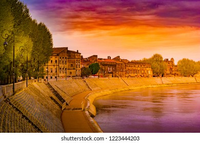 The river Rhone at Arles overlooking the old town. Buches du Rhone, Provence, France.