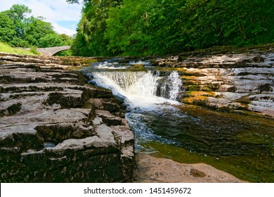 The River Ribble tumbles over waterfalls known as Stainforth Force, near the village of Stainforth in the Yorkshire Dales