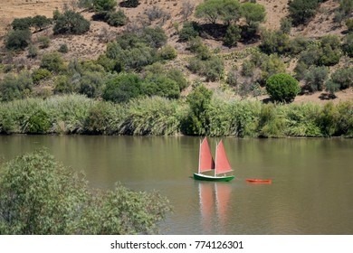 the river Rio Guadiana on the Border of portugal and Spain neat the town of Alcoutim at the east Algarve in the south of Portugal in Europe. Portugal, Algarve, October, 2016,