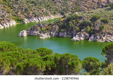River rocky banks view. Portugal