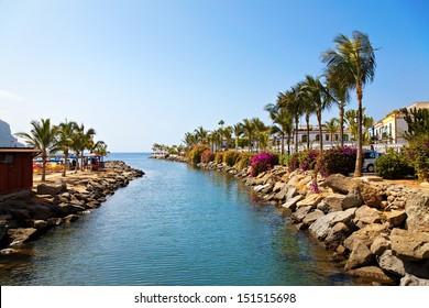 River Run Into The Ocean. Puerto De Mogan, Gran Canaria.