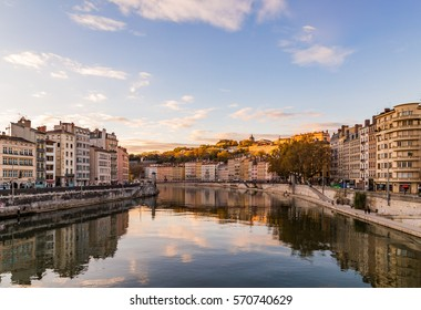 River running through a city in Lyon, France