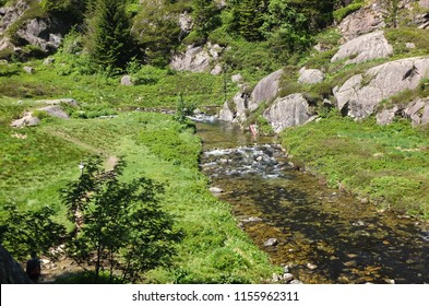 River running through green rocky scenery along the GR10 trail in the Pyrenees, South of France