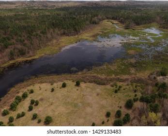 River running through Rutland prison camp in Rutland Massachusetts, the camp borders Rutland state park