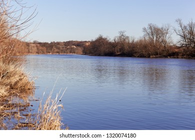 The river Saale in the North of the city Halle, Saxony Anhalt, Germany.