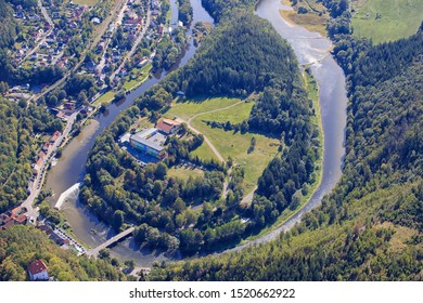 The river Saale in the North of the city Halle, Saxony Anhalt, Germany
