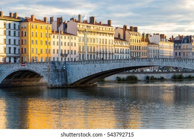 The river Saone and one of its bridges in the city center of Lyon