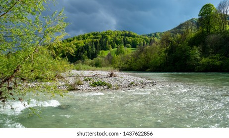 River Sava flowing through her canyon in Slovenia