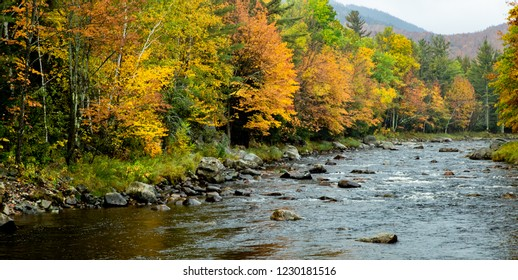 River Scene in Autumn in the Adirondack Mountains, New York