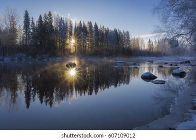 River scenery in winter morning