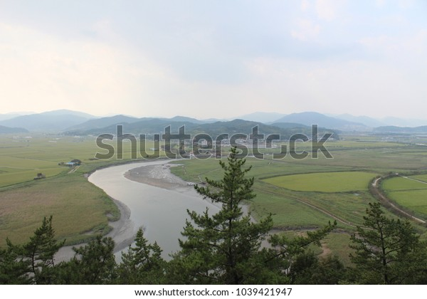A river seen from the mountains