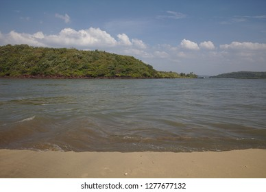 River seen from sandbank in Goa