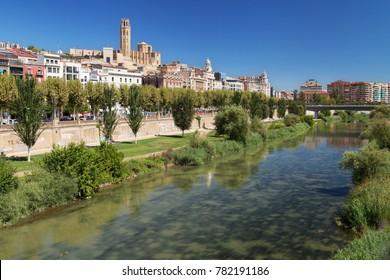 River Segre through Lleida, Catalonia.