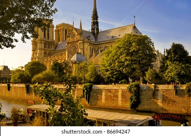 River Seine and cathedral Notre Dame in Paris, France