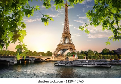 River Seine and Eiffel Tower in Paris, France
