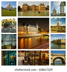 River Seine, palaces and townhouses in Paris night, capitol of France. Collage