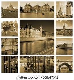 River Seine, palaces and townhouses in sepia. Capitol of France. Collage