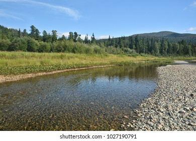 River Shchugor in the mountain taiga of the Northern Urals. National Park Yugyd-VA, UNESCO World Heritage Site Virgin Komi Forests.