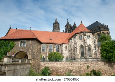 River side of Magdeburg Cathedral (Protestant Cathedral of Magdeburg Mauritius and St. Catherine) - one of the oldest Gothic buildings in Germany.