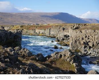 the river skjalfandafljot near Godafoss waterfall in Iceland