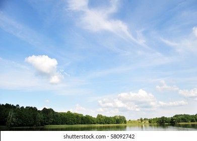 river and sky with cloud. summer  landscape