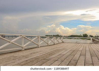 River sky and white wood balcony