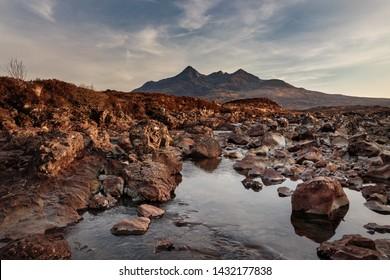 The River Sligachan and Panoramic mountains at the Isle of Skye, Scotland