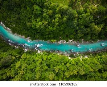 River Soca cutting trough forest, Slovenia. Drone photo.