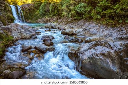 River stream waterfall in forest landscape - Shutterstock ID 1585363855