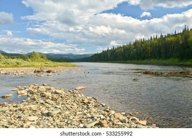 """River summer landscape. Northern Urals, the national Park """"Yugyd VA"""", Komi Virgin forests"""