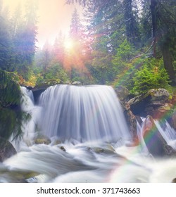 River at sunrise in the Carpathian forest  fast jet of water at slow shutter speeds give a beautiful fairy-tale effect. Ukraine is rich in water resources, in the Carpathians is legendary good ecology