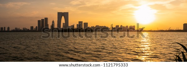 The River Sunset in Suzhou, China