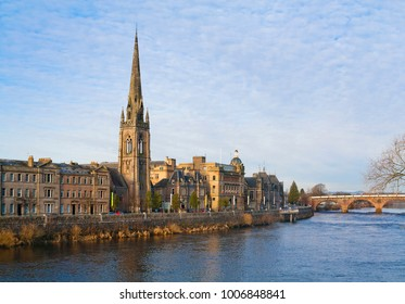 River Tay embankment with St Matthews Church of Scotland in Perth, Scotland