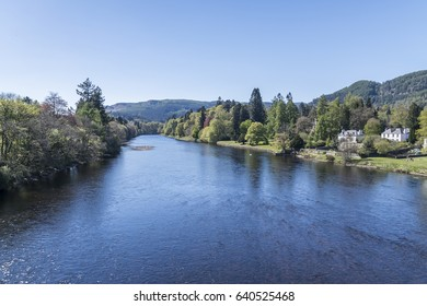 The River Tay flowing past Dunkeld, Perthshire, Scotland