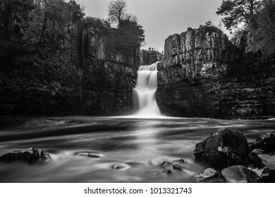 The river Tees flows through the Durham dales cascading over many waterfalls. the Biggest being High Force.