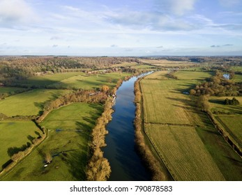 River Thames aerial photo in Berkshire countryside, UK