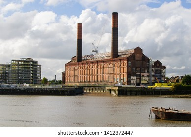 River Thames, Chelsea, Lots Road Power Station, London, United Kingdom - October 6, 2015: The Chelsea Waterfront apartments under reconstruction
