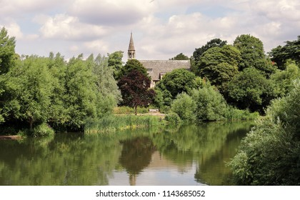 The River Thames at Clifton Hampden in England with Church in the background