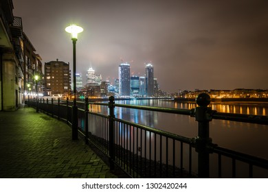 River Thames embankment in the night, Canary wharf, London