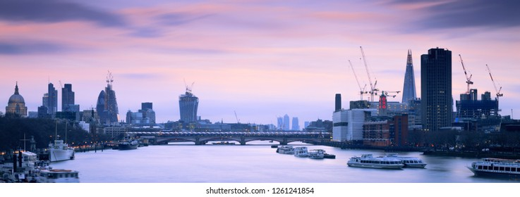 River Thames London England 16th March 2017 The City of London skyline at twilight