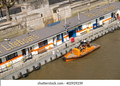 River Thames, London, UK. 2nd April 2016. EDITORIAL - Elevated view from Waterloo Bridge, looking down on the Tower lifeboat station, at Victoria Embankment on the north bank of the River Thames.