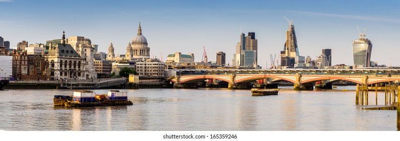 River Thames in London, the view to the north shore and the Cathedral of St. Paul