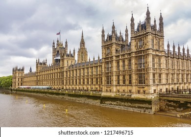 River Thames and Palace of Westminster (known as Houses of Parliament). Palace of Westminster located on bank of River Thames in City of Westminster, London, UK.