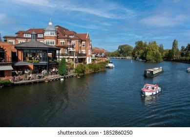 River Thames at Windsor, Berkshire, England, UK. 2020. Overview of holiday boats on the River Thames at Windsor, Berkshire, UK.