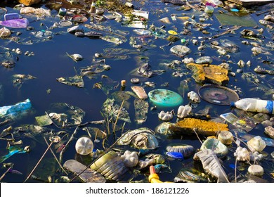 River that is polluted with various garbage and trash, Polluted rivers, photography