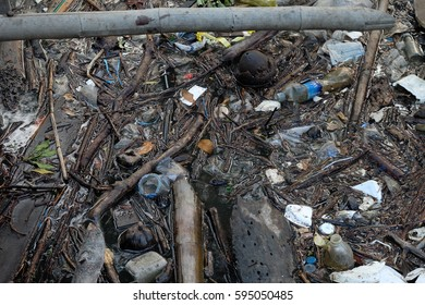 River that is polluted with various garbage and trash, Polluted Rivers