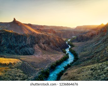 River through Charyn Canyon in South East Kazakhstan taken in August 2018