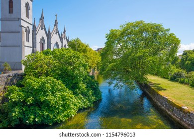 River through the city of Galway in Ireland in summer