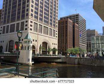 The river through downtown Milwaukee, Wisconsin, USA. Photo taken in 2017.