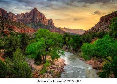 River Through Zion at Sunset, Zion National Park, Utah